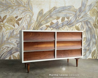 SAMPLE Mid Century Dresser/Credenza in White and Walnut: Custom Orders Accepted