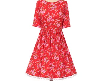 Red Vintage Floral Handmade 1950's Style Francis Elbow Length Sleeve Dress