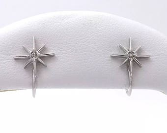 14K Diamond North Star Starburst Atomic Art Deco Mid Century Screwback Earrings Vintage