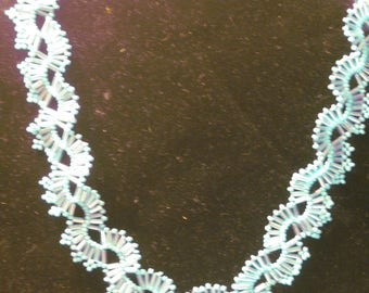 White Beaded Lacy Filagree Necklace, 17 to 19 Inch Length