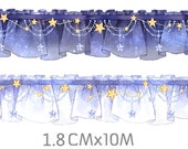 1 Roll Limited Edition Washi Tape: Starry Night Lace Curtain