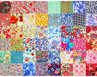 """SALE 15% off Liberty Fabric 48 Mini Charm Quilt Squares 2.5"""" Patchwork Quilting Floral Medium Bright Colours Liberty London Cotton Tana Lawn"""