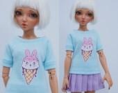 Slim MSD Minifee or SD BJD Shirt - Ice Cream Bunny