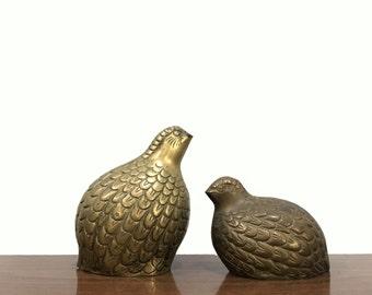 Pair of Mid Century Brass Quails