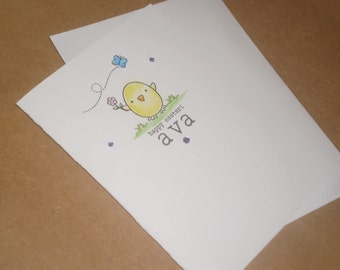 Handmade Easter Chick Card - Personalised