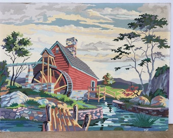 Large Vintage Paint By Number Old Mill On River Craftint 1960's Artwork Red Mill Painting Mid Century Modern