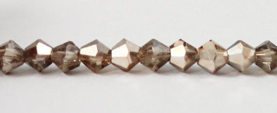3mm Bicone Crystal Beads, Taupe Crystal Beads, Half Transparent Half Metallic Crystal Beads, Tiny Faceted Chinese Crystal Glass Beads, 100pc