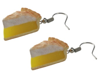 Lemon Meringue Pie Earrings -  Food Jewelry, Kawaii Jewelry, Polymer Clay