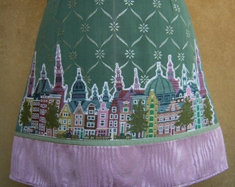Embroidery appliqué skirt Amsterdam Skyline, A-line skirt, vintage cotton brocade, upholstery fabric, green pink, size Small
