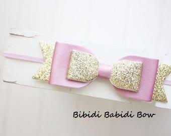 Girls headband- Gold Pink bow- Girl headband- infant headband- Baby girl headband- Gift- Toddler headband -Hair accessory
