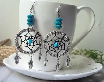 Blue turquoise plumage for dream net earrings 0364