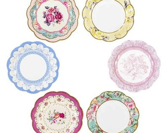 Vintage Look Paper Plates, Floral Shabby Chic party, Elegant Birthday, Tea Party plate, Baby Shower, Wedding plates, moms birthday