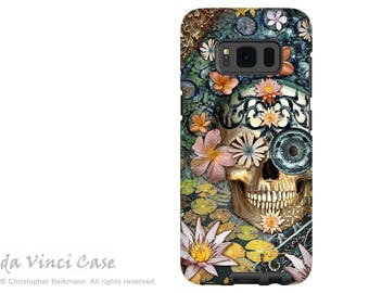 Floral Skull Samsung Galaxy S8 Case - Dia De Los Muertos Galaxy S 8 Case with Botanical Sugar Skull Art - Bali Botaniskull - Dual Layer Case