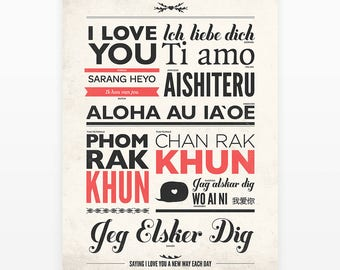 I love you in different languages, Vintage typography poster, Love quote print, Sign language, I love you, Wedding signs, Love print