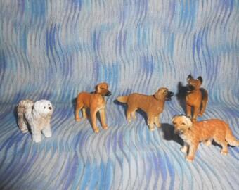 Five Vintage Heavy Plastic Dog Figures