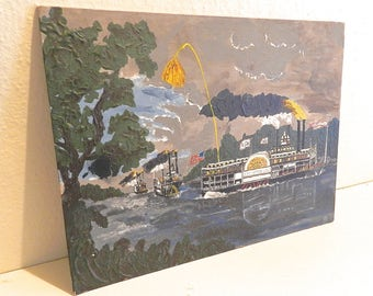 """Vintage Folk Art. River Boat.Southern Cottage Decor. Wall Art. """"Queen of The West"""" Steamboat"""