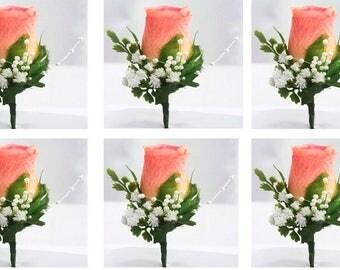 Peach silk flower, Package boutonnieres set, Wedding corsage rose, Prom orange boutonniere, Lapel flower groomsmen, Mens wedding