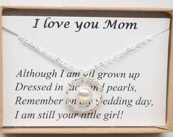 Mother Of The Bride Gift Necklace-Gift Boxed Jewelry Thank You Gift-Sterling silver eternity, infinity with pearl necklace-Mother's Day gift