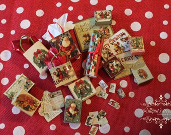 Digital download Christmas set for dollhouse or miniature's work - 34 pieces