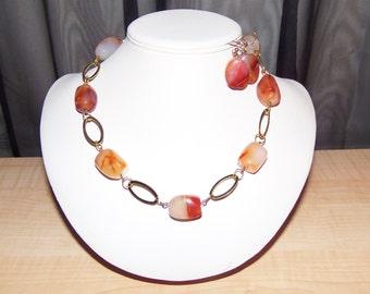 Red/Orange Agate Necklace Set