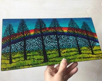 Rainbow Silhouette Trees original painting