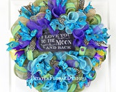 Peacock Wreath, Summer Wreaths, Blue Wreath, Peacock Wreaths, Deco Mesh Wreath, Mantel Wreath, Front Door Wreath, Summer Wreath