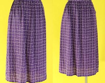 Vintage 80s Plum Purple Skirt - High Waisted Skirt with Pockets - A Line Skirt - Midi Skirt - Polka Dot Skirt - Plaid Skirt - Size Small