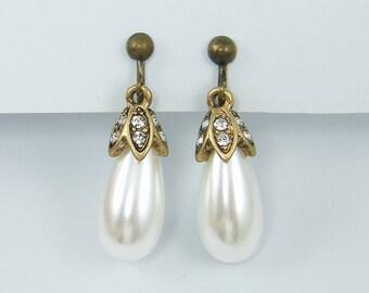 Pearl Clip on Earrings, Vintage Style Antique Brass Pearl Teardrop Clip Earrings Rhinestone Clip Earrings, Dangle Clip on Earrings