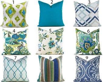 Pillow Covers ANY SIZE Decorative Pillow Cover Aqua Blue Pillow Turquoise Pillow You Choose