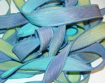 "PARAKEET 42"" hand dyed wrist wrap bracelet silk ribbon//Yoga wrist wrap bracelet ribbons//Silk wrist wrap ribbon// By Color Kissed Silk"