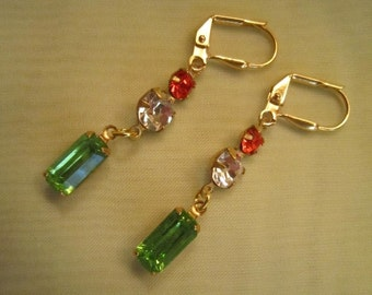 SUPER SALE Vintage orange, clear, and lime grean rhinestone earrings...very different