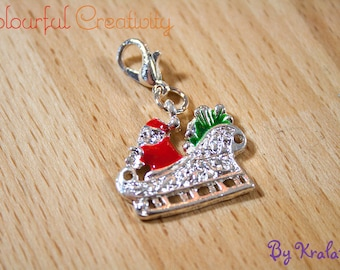 Stitch marker Christmas Santa in his sleigh