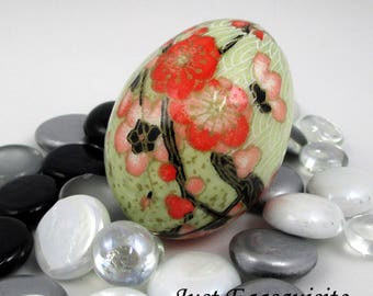 Japanese Washi Easter Egg Coral Floral Hand Decorated Chicken Egg