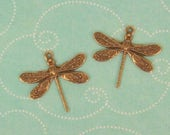Detailed Dragonfly Charm, Pendant, Stamping - Ox Brass 16x17mm  Beautiful. Ornament, Embellishment,  Amazing Detail