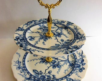 Blue Medway Alfred Meakin shape 2 tier Tidbit Tray serving dish offers considered