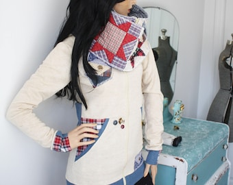 PLAID QUILTED bottle neck JACKET diy upcycle shabby chic eco friendly