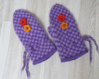 Mittens hand knitted boiled felt women purple lavender handmade ready to ship flower decor winter gloves Christmas orange yellow violet