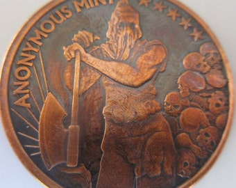 Executioner 1 oz .999 Pure Copper Challenge Coin with Black Patina