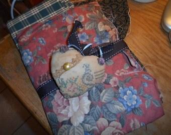 Bundle of 4 fabrics with cross stitch, tea dyed heart pincushion