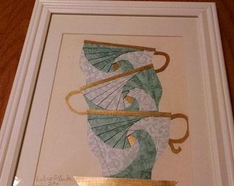 3 Stacked Tea Cups KIT Iris Paper Folding