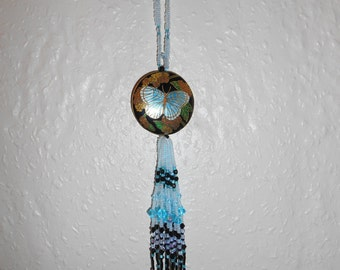 Gorgeous OOAK Handmade Black, Pale Blue and Turquoise Swarovski Crystal and Butterfly Cloisonné Focal Bead Beaded Tassel Gift Ornament (#04)