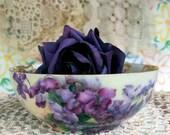 T&V Antique Bowl Fine Porcelain Dish Tressemann and Vogt Art Nouveau Hand Painted Violets and Gold Design Limoges France