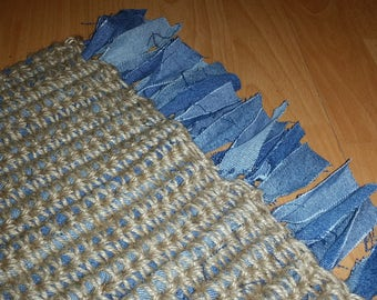 Rag Rug Mat: Small crocheted jute rag mat with upcycled blue denim jeans with fringe