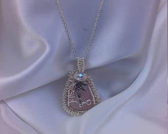Angel of Wisdom Rose Quartz Gemstone Pendant