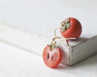 Persimmon Earrings - Food Jewelry - Persimmon Earrings - OOAK Earrings - Vegan - Flame