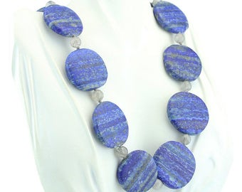 "21.5"" Lapis Disc And Quartz Necklace with Sterling Silver clasp 45-10012"