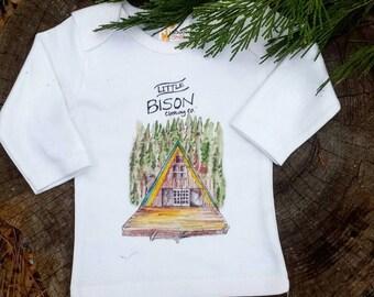 SIZE SMALL Hideaway Shirt,  kids clothes, kids long sleeve shirt, camper clothes,  forest shirt, camper shirt, log cabin onesie