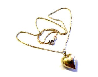 Vintage Puffy Heart Sterling Silver Pendant / Necklace 925