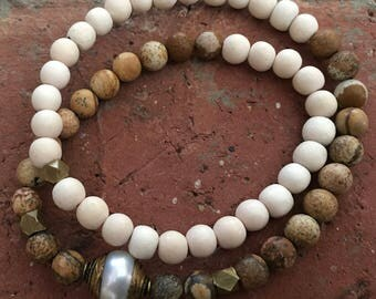 Double Wrap, Picture Jasper, White Wood and Tibetan Capped Pearl Bead Stretch Bracelet