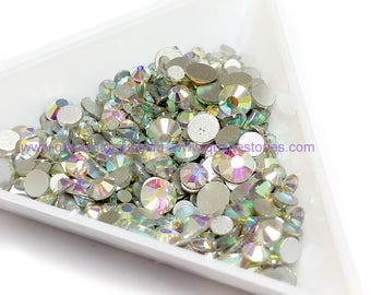 Mixed Size Crystal AB Flat Back Rhinestones High Quality 500pcs